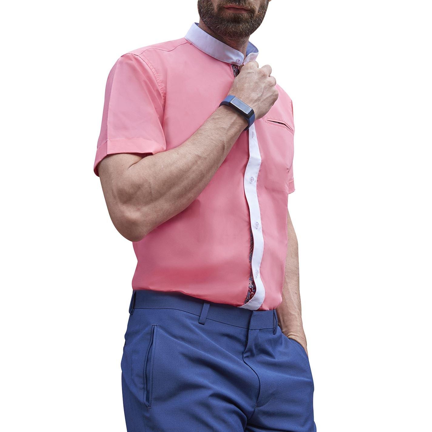 Unchained Warrior Herren Grandad ohne Kragen Smart Casual Short Sleeve Nehru Sommer Slim Fit Baumwolle Shirt Einheitsgröße