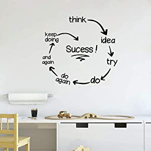 Makeyes Quotes Success Circles Wall Stickers Office Wall Decor Art Design Wall Decals Vinyl Home Livingroom Decoration MG027 (Black, 42X38CM)