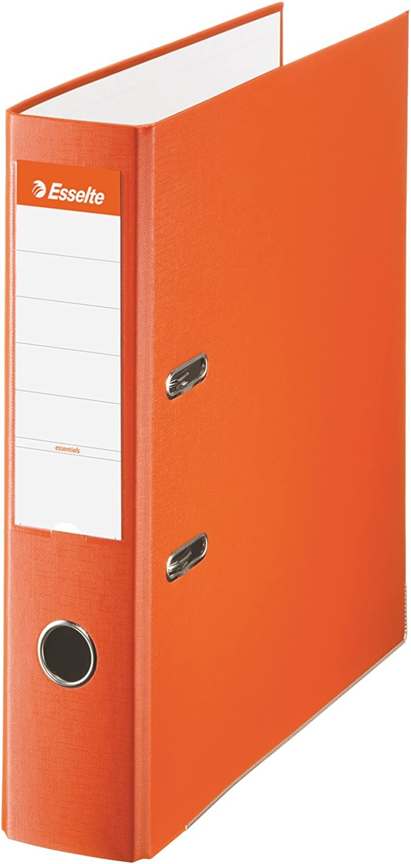 Esselte 42323, Archivador de Palanca de PP de Plástico Forrado, Naranja, Anchura lomo: 75 mm