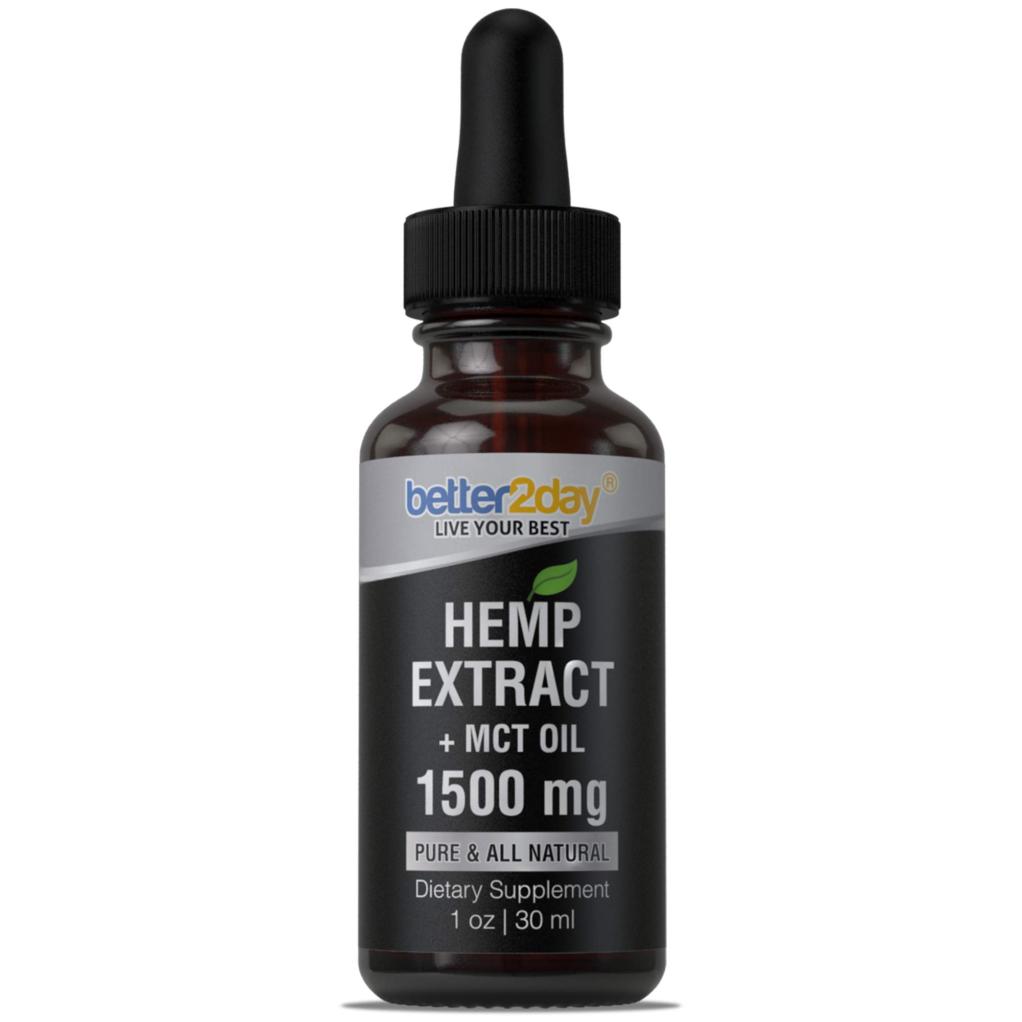 Hemp Extract + MCT Oil (1500mg) - From 100% Organic Colorado Grown Hemp Seed By Better2Day. Rich in Omega 3, 6 Fatty Acids. Natural Anti Inflammatory. Helps with Anxiety, Sleep, Mood, Skin and Hair