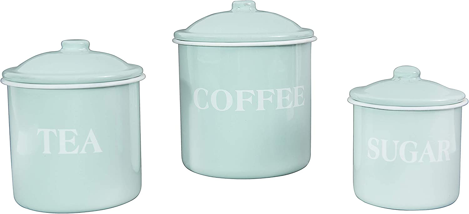 Creative Co-Op Metal Containers with Lids, Coffee, Tea, Sugar (Set of 3 Sizes/Designs) Food Storage, Mint Green