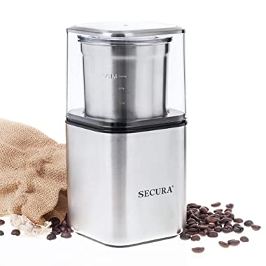 Secura Electric Coffee & Spice Grinder Coffee Blade Grinders and Spices Grinder with 2.5 Ounce Removable Bowl Stainless Steel