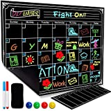 Magnetic Dry Erase Refrigerator Calendar Reusable Monthly Chalkboard - Meal Cooking Conversion Chart & To Do Grocery List - 2018 Kitchen Gift Set - Best Supplies For Smart Planners