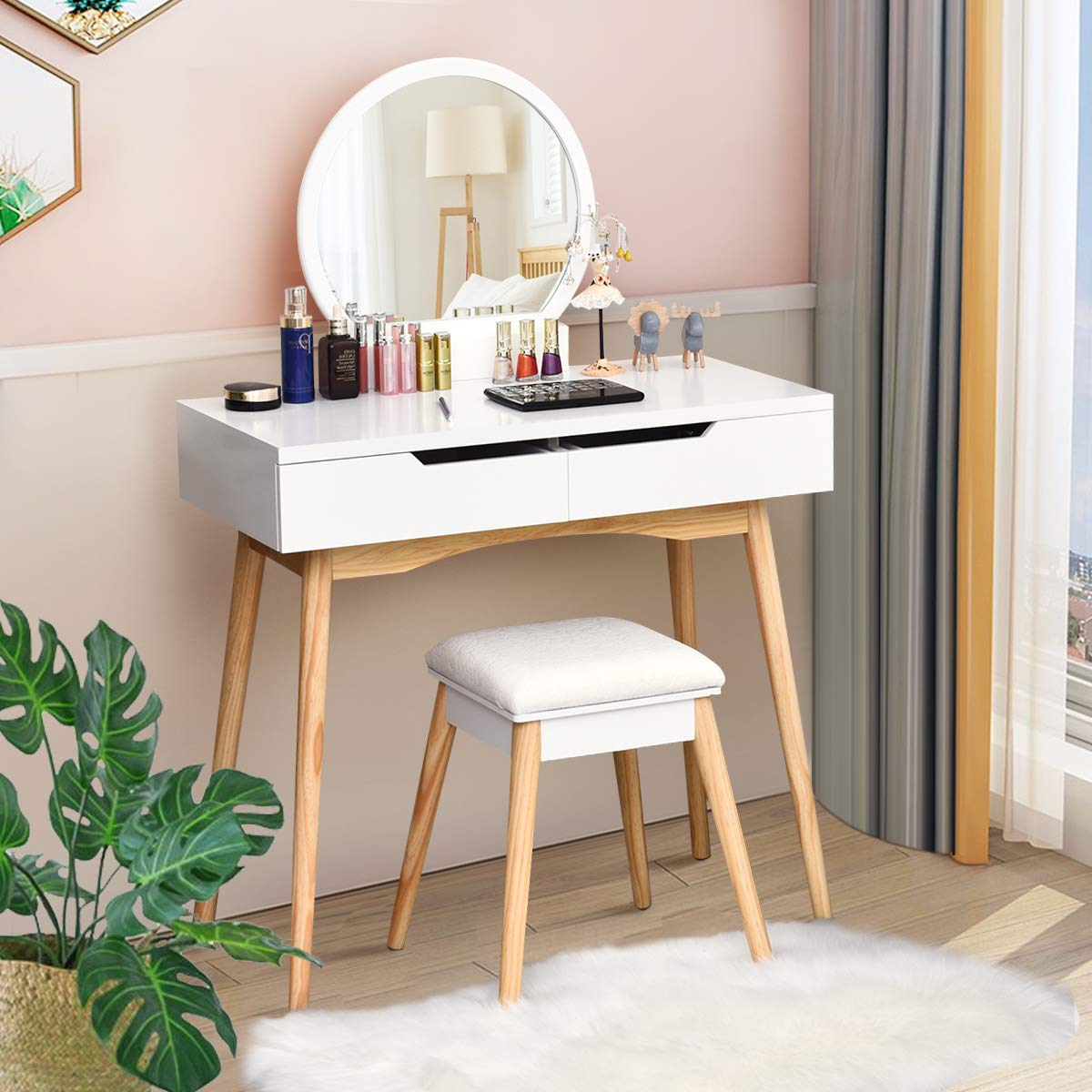 CHARMAID Vanity Table Set with Large Round Mirror and 2 Sliding Drawers, Makeup Table with Cushioned Stool and Solid Wood Legs, Modern Bedroom Dressing Table Set for Women Girls Kids White
