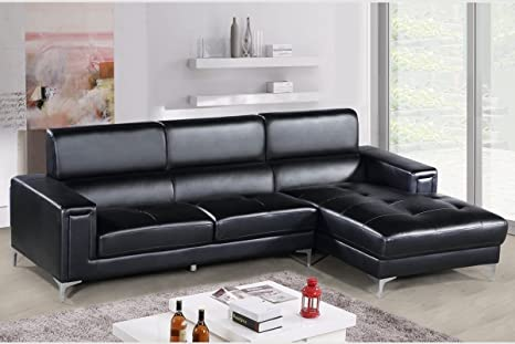 Amazon.com: Modern Sectional Black Faux leather 2pc ...