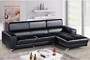 Modern Sectional Black Faux leather 2pc Sectional Sofa Set Relax Tufted Seat Chase Facing Right Plush Arms