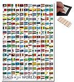 confezione - 2 articoli - Bandiere del mondo poster grande - 91.5 x 61cms (36 x 24 pollici) E UN SET DI 4 Cuscinetti Adesivi riposizionabili per facile fissaggio a parete