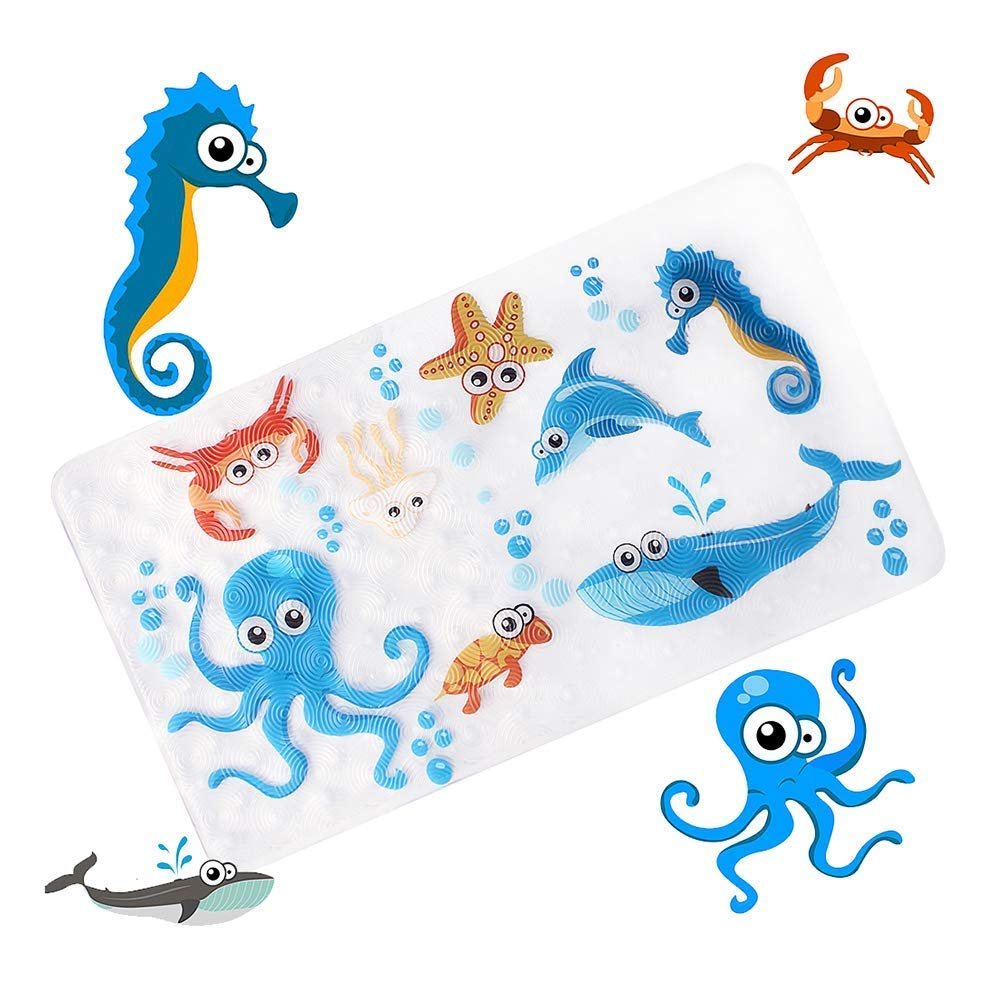 Non-Slip Bath Mat Bathtub and Shower Mat for Baby Kid's, Anti-Bacterial, Machine Washable, Large Toddler Rubber Anti Non Skid Bath Matts Fits Any Size Bath Tub, 16inchx27inch (Sea world) WARRAH A--6WARRAH L--27