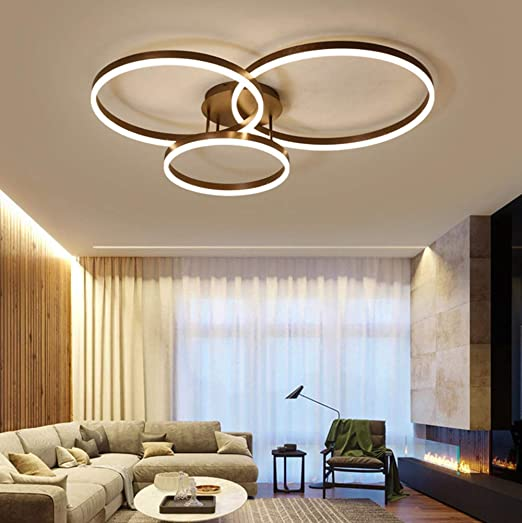 Chandelier Living Room Dimmable 75W LED Ceiling Lights Acrylic-Panel Modern  Style Flush Mount Light Ceiling Hanging Lamp Chic 3 Ring Designer Ceiling  ...
