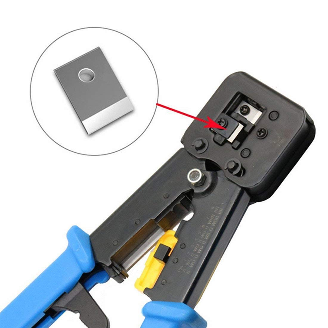 RJ45 Crimp Tool 6P 8P Multi-function Cable Cutter Pass Through Crimper Ethernet Cable Connector Crimping Tool Ratcheting Hand Tools Bonus CAT6 Connector 20 Pack by Ewans (Image #6)