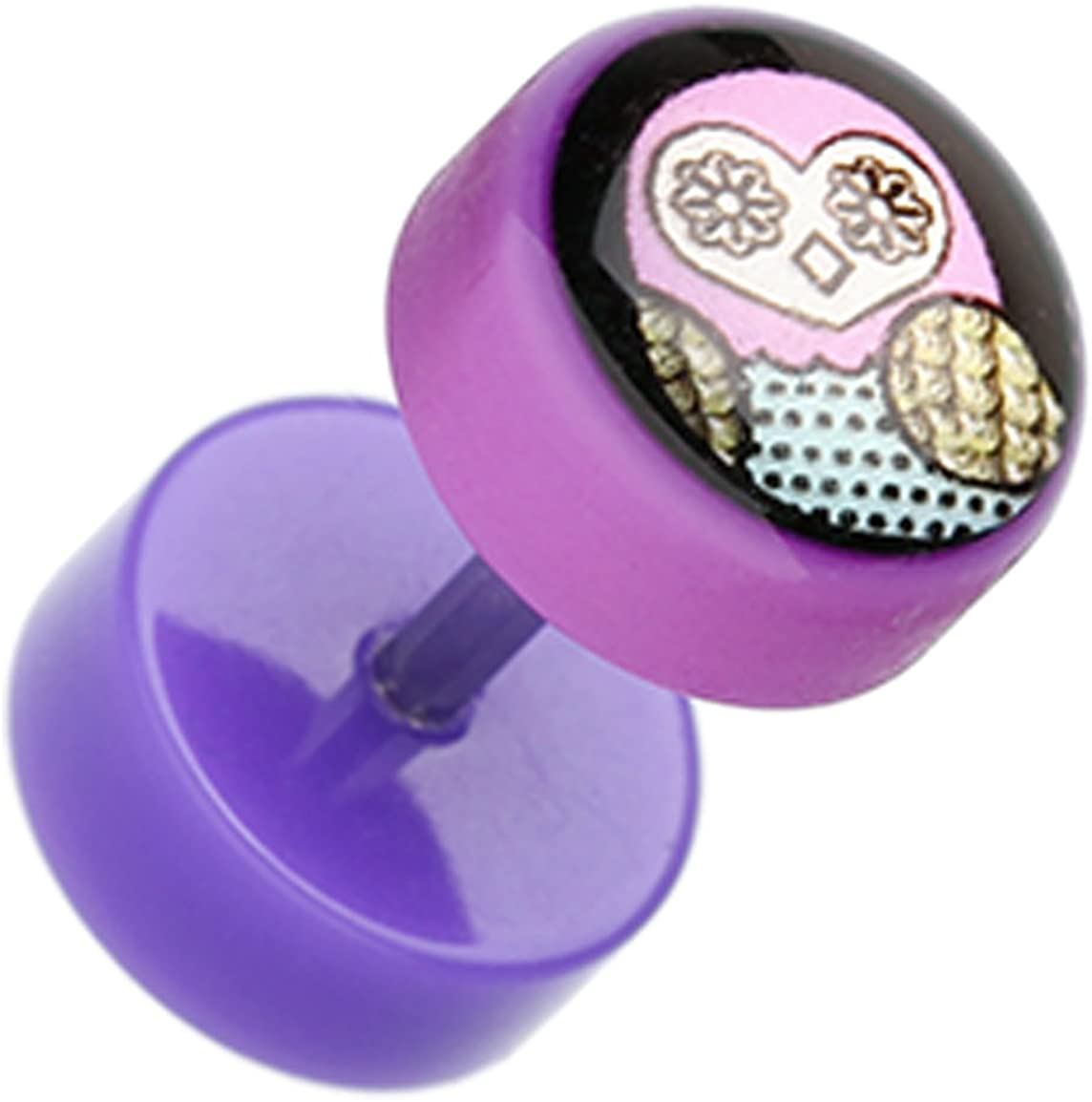 Sold as a Pair Patterned Owl Acrylic Fake Plug