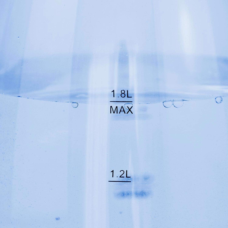 360/° Basis Edelstahl-Heizelement BPA-frei mit LED Beleuchtung schwarz Trockenlaufschutz Sarcona Design Glas Wasserkocher 1,8 Liter 2200 Watt