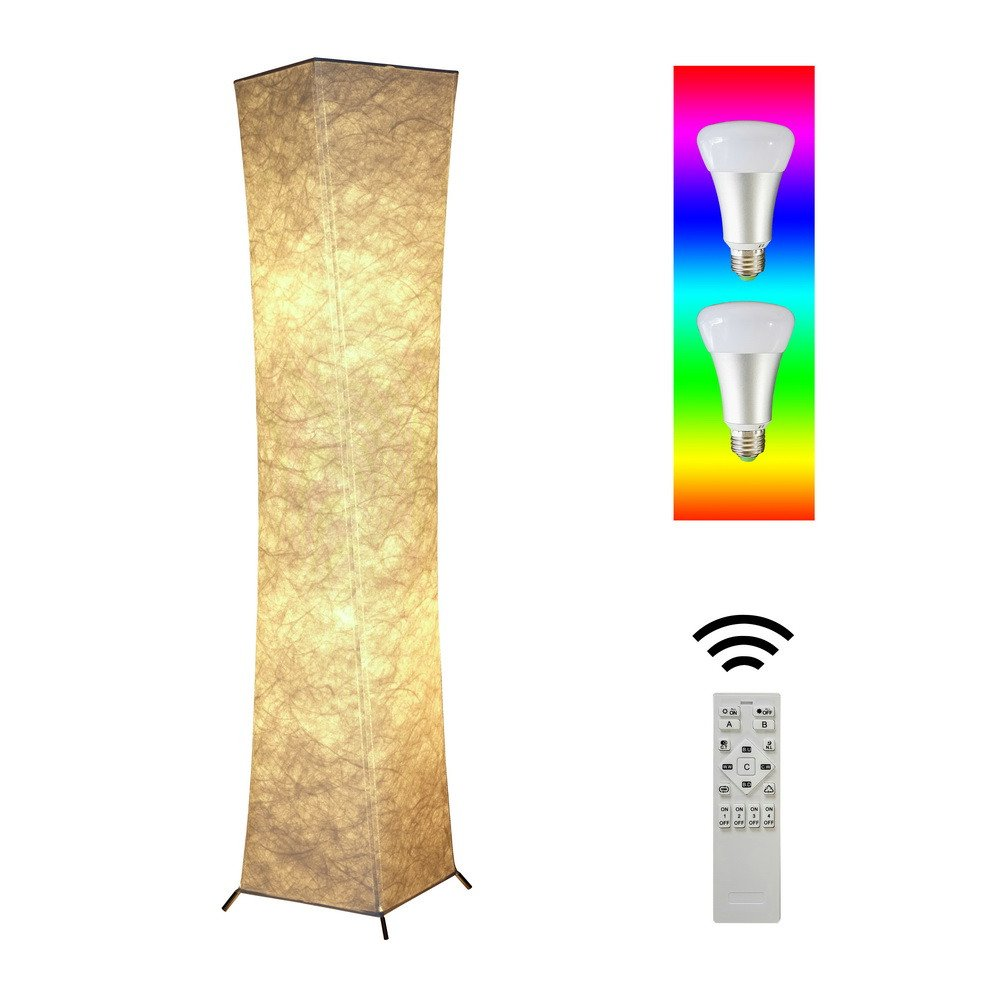 52''Soft Lighting Floor Lamp RGB Color Changing Rmote Control Fabric Shade Simple Shape Warm Atmosphere Bedroom