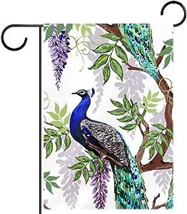 Lyetny Peacocks Tropical Japanese Flowers Wisteria Season Garden Flag Yard Decor Flag Outdoor Flag 12 by 18 in