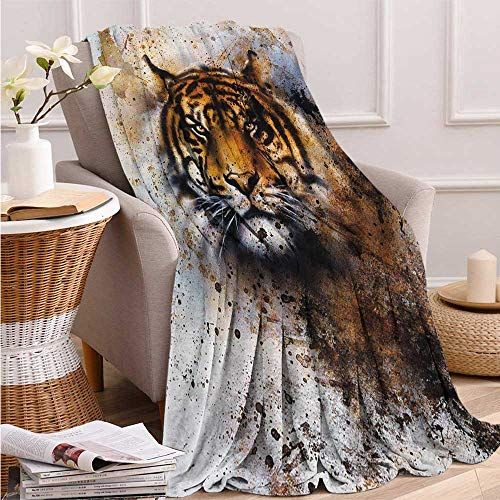 Fenlin Tiger, Throw Blanket for Kids, Wild Beast Looking Straight into The Eyes of The Viewer Angry Looking Panthera Tigris, Summer Blanket, 60x50 Inch Multicolor