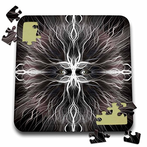 3dRose Perkins Designs Animals - Werewolf Scary Eyes of a Werewolf with Animal Fur Fun for Halloween Holidays - 10x10 Inch Puzzle (pzl_20478_2) -