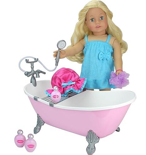 Amazon Com Sophia S 18 Inch Doll Bathtub With Shower Pink Clawfoot