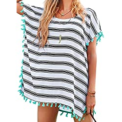 Chalier Womens Striped Chiffon Swimwear Bikini Swim Beachwear Swimsuit Cover up,A-white Stripe,One Size