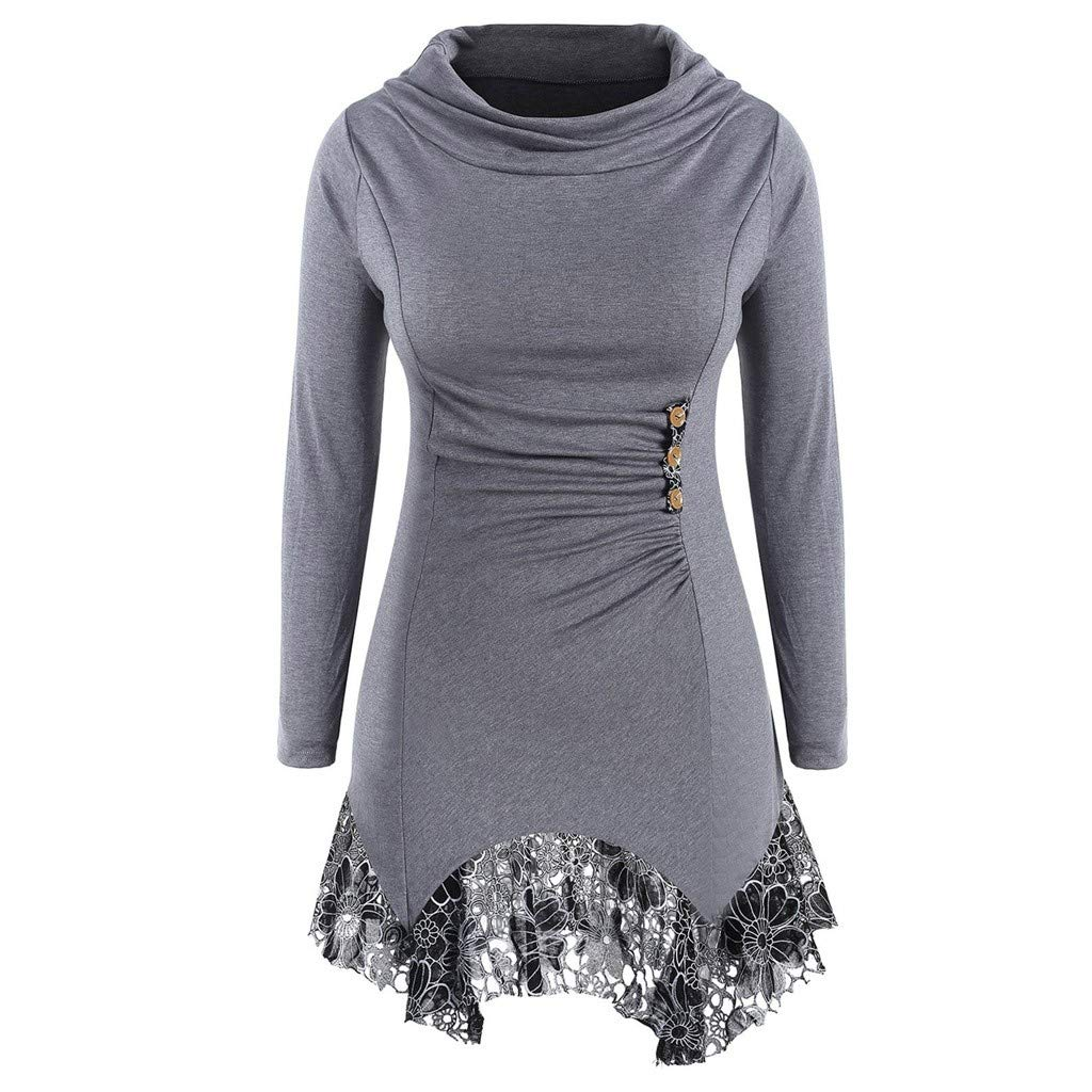 BEAUTYVAN Plus Size Tops, Womens Lace Patchwork Button Tee Blouse Casual Crew Neck Tunic Tops
