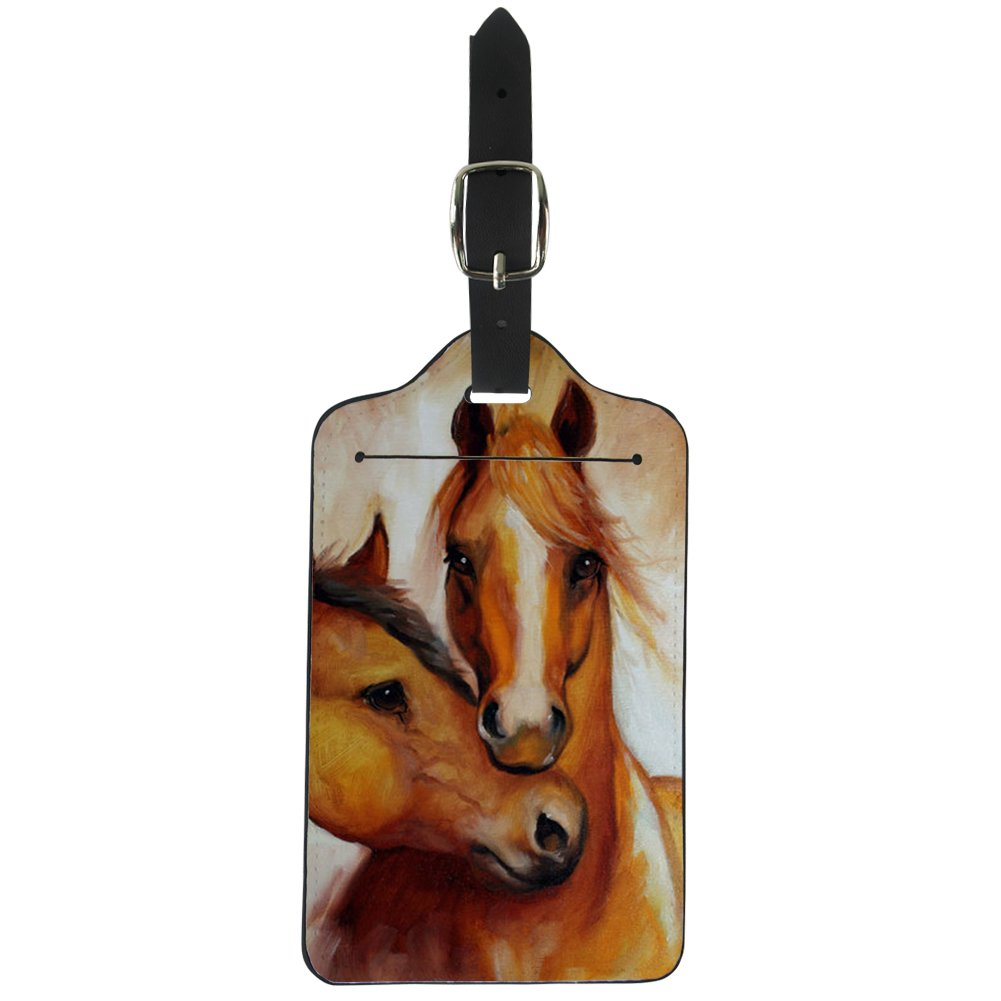 Upetstory Pu Leather Luggage Tags for Youth Boys Men Baggage ID Label with Address Card for Travel Bag Suitcase Horse by Upetstory