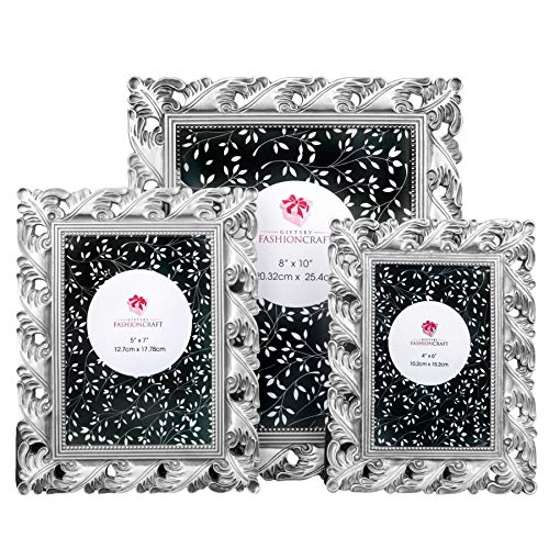 Vintage Antique Oranate Silver Finish Picture Frames ~ Set of 3 Frames for 4 x 6-5x7-8x10 Inch Photos ~ Perfect for Wedding Vacation Graduation Or Any Milestone Photo ()