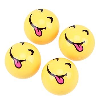 4X Ventilkappen Ball Kugel zwinkerndes Zwinker Gesicht Winking Wink Face Gelb Yellow Ventilkappe Vsmzw
