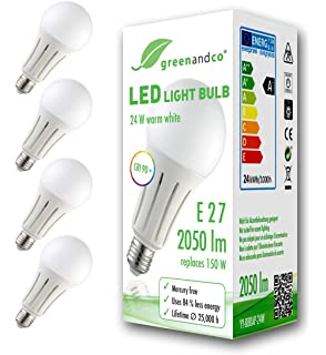 5x Bombilla de filamento LED greenandco® IRC 90+ regulable E27 8W ...