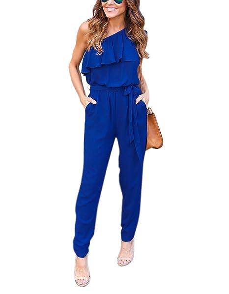 Siameses Con Hombro Pantalones Clubwear Elegante Monos Bienbien Playa Un Bodysuit Volantes Vestir Largos Mujer Inclinado De Fiesta Verano SVUMzGpq