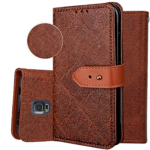 (Galaxy S5 Wallet Case,S5 Purse Case,Auker 3 Card Holder Vintage Book Leather Wallet Case Magnetic Closure Folio Flip Full Body Cover with ID License Card Slot&Strap for Samsung Galaxy S5 (Brown))