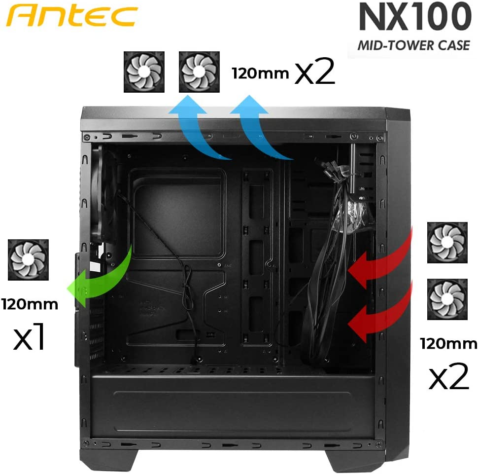 Midi Tower Gaming Geh/äuse Antec NX100 Seitenfenster