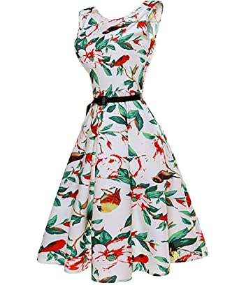 b003662bb2b Amazon.com  dextrad Beautiful Women s Dress Chinese Style Birds Pattern Cocktail  Evening Swing Party Dresses  Clothing