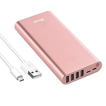 BONAI Bateria Externa 23800mAh Power Bank Cargador portátil con Salida de 4 USB para Phone Huawei, Samsung Galaxy etc: Amazon.es: Electrónica