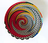 African Zulu woven telephone wire bowl – Small round - Red and multicolour - Gift from Africa