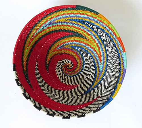 African Zulu Telephone Wire - African Zulu woven telephone wire bowl – Small round - Red and multicolour - Gift from Africa