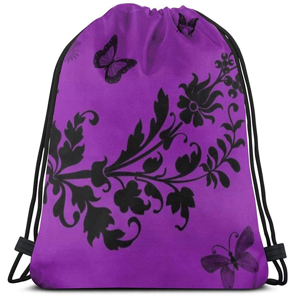 Gym Bag Cordon Sac /à Dos Dessin anim/é Fleurs Papillons Violet Toile Sac en Vrac Sac /à Dos pour Hommes Femmes cha/îne Sac de Sport 36 x 43 cm MarkCine-