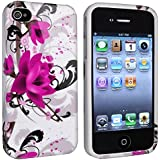 eForCity TPU Rubber Skin Case Compatible with Apple iPhone 4/4S - Retail Packaging - White/Purple Flower