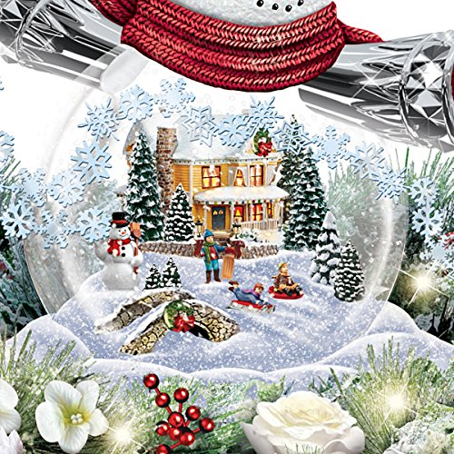 Thomas Kinkade Snowman Snow Globe Holiday Home Floral Centerpiece: Lights Up by The Bradford Exchange by Bradford Exchange (Image #2)