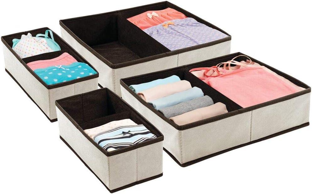 Scatole Porta Oggetti di Diverse Dimensioni per cassetti mDesign Set da 2 divisori per cassetti in Fibra Sintetica Traspirante Grigio Scuro e Nero Pratiche scatole per armadi Pieghevoli