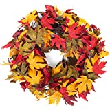 """Autumn Colors Festive Fall Thanksgiving Door Wreath with Maple Leaves - 20"""""""