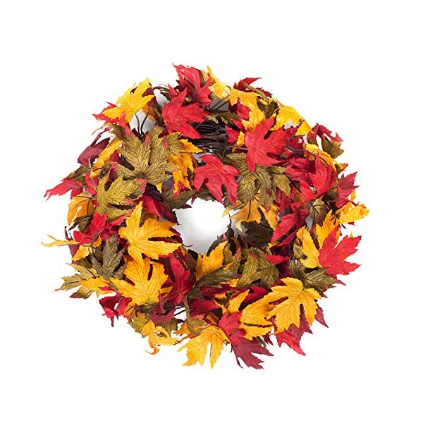 Red Co. Autumn Colors Festive Fall Thanksgiving Door Wreath with Maple Leaves – 20″