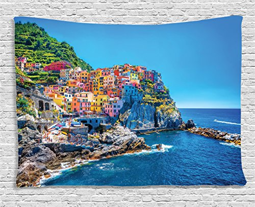 - Ambesonne Wanderlust Decor Collection, Mediterranean Sea European Style Traditional Italian Design Cliff Coastline View Mountains, Bedroom Living Room Dorm Wall Hanging Tapestry, 60W X 40L Inch