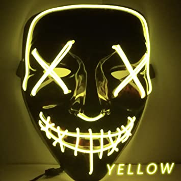 Amazon.com : Halloween Mask LED Light Up Funny Masks The Purge Election Year Great Festival Cosplay Costume Supplies Party Masks Glow In Dark kangxiaoyan ...