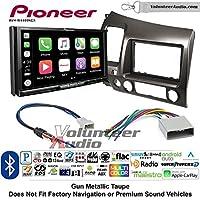 Volunteer Audio Pioneer AVH-W4400NEX Double Din Radio Install Kit with Wireless Apple CarPlay, Android Auto, Bluetooth Fits 2006-2011 Honda Civic (Earth Taupe Brown)