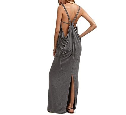d69a1ffacad Wu Seller ss fashion Womens Sexy Long Dresses Summer Ladies Plain Grey  Sleeveless V Neck Backless