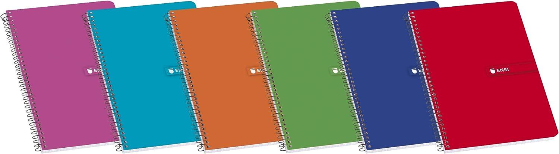 Enri 100430102 - Pack de 10 cuadernos con espiral simple, cuadriculado, tapas blandas, colores surtidos