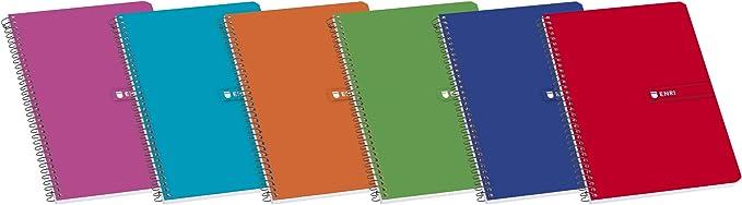 Enri 100430100 - Pack de 10 cuadernos espiral, tapa blanda, Fº ...