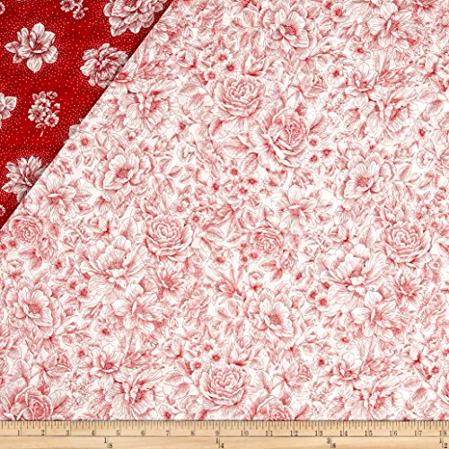 - Opposites Attract Double Sided Quilted Toile Red/White Fabric By The Yard