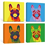SUMGAR Hippie Wall Art Bedroom Pop Dog Canvas Paintings Dorm Decor Blue Animal Prints Yellow Puppy Pictures Colorful…