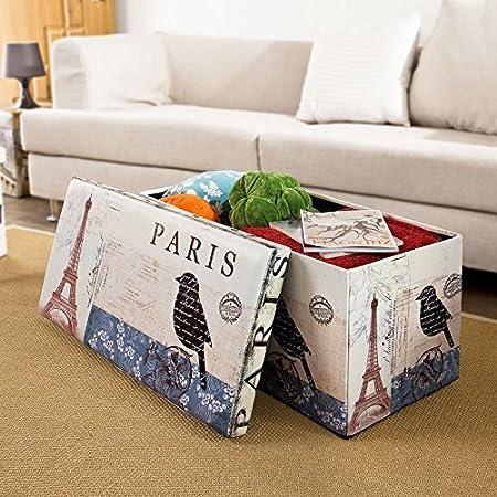 Fantastic Sobuy Storage Ottoman Folding Seat Box With Removable Cover Paris Eiffel Tower Pattern Fss34 L Fr 76 X 38 X 38 Cm Bralicious Painted Fabric Chair Ideas Braliciousco