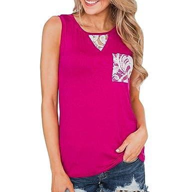 Chaleco de Mujer Camiseta Sin Mangas Costura de Encaje Color ...